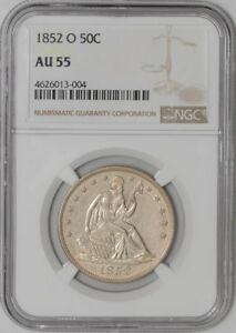 1852 O SEATED LIBERTY HALF 50C AU55 NGC