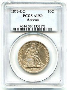 Click now to see the BUY IT NOW Price! 1873 CC LIBERTY SEATED SILVER HALF DOLLAR PCGS AU 50 ARROWS NICE CC COIN