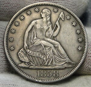 1858S SEATED LIBERTY HALF DOLLAR 50 CENTS   KEY DATE ONLY 476 000 MINTED  6247