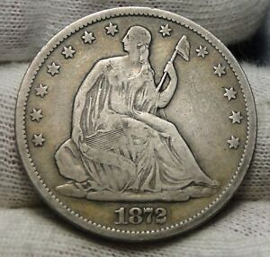 1872S SEATED LIBERTY HALF DOLLAR 50 CENTS. KEY DATE 580 000 MINTED  6782