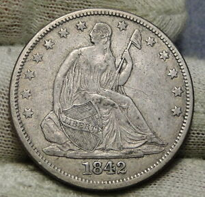 1842 SEATED LIBERTY HALF DOLLAR 50 CENTS. NICE COIN   5201