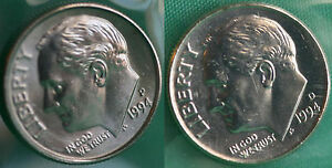 1994 P AND D ROOSEVELT DIME 2 COINS FROM US MINT SET BU CELLOS TEN CENTS TWO 10C