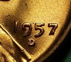 1957 D LINCOLN WHEAT PENNY FILLED 9 5 ERROR W25097