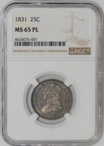 Click now to see the BUY IT NOW Price! 1831 CAPPED BUST QUARTER 25C SMALL LETTERS B 4 R.1 MS65 PL NGC