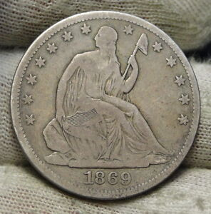 1869S SEATED LIBERTY HALF DOLLAR 50 CENTS. KEY DATE 656 000 MINTED  6077