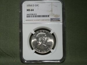 1954 D FRANKLIN HALF DOLLAR NGC MS64