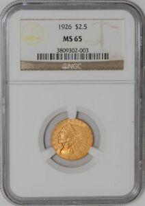 1926 $2 1/2 GOLD INDIAN 3809302 003 MS65 NGC