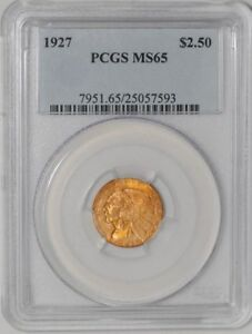 1927 $2 1/2 GOLD INDIAN 25057593 MS65 PCGS