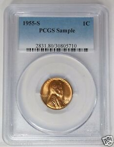 1955 S LINCOLN WHEAT CENT PCGS SAMPLE SLAB