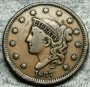 1837 CORONET HEAD LARGE CENT     TYPE COIN NICE DETAILS     N166