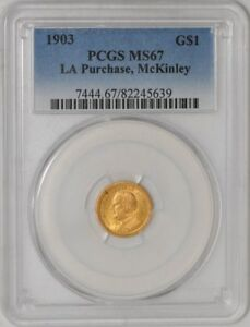 Click now to see the BUY IT NOW Price! 1903 $ GOLD MCKINLEY DOLLAR LA PURCHASE 82245639 MS67 PCGS