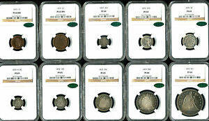 Click now to see the BUY IT NOW Price! A COMPLETE AND ORIGINAL 10 PIECE 1870 U.S. MINT PROOF SET PF64 PF65 NGC CAC