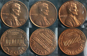 1972 P & D & S LINCOLN CENT 3 COIN FROM US MINT SET UNC CELLO ONE CENT 3 COINS