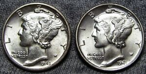1941 1943 D MERCURY DIME LIBERTY      GEM BU  LOT       A088