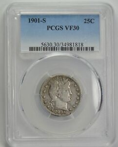 Click now to see the BUY IT NOW Price! 1901 S BARBER QUARTER 25C KEY DATE VF 30 PCGS CERTIFIED  US SILVER COIN