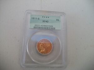 1911S $5.00 INDIAN HEAD $5.00 GOLD COIN PCGS XF 40
