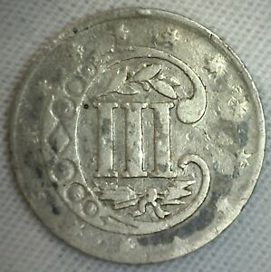 1858 THREE CENT PIECE SILVER US UNITED STATES TYPE COIN 3C GOOD III CENTS