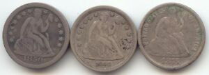 LOT OF 3 SEATED LIBERTY DIME AVERAGE VF 1850 1856 SMALL DATE 1875
