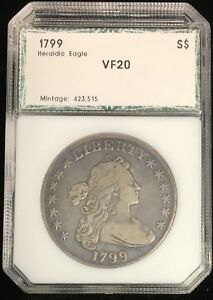 1799 $1 DRAPED BUST DOLLAR HERALDIC EAGLE REVERSE VF MINTAGE 423 515