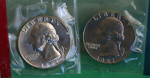 1981 P & D WASHINGTON QUARTER TWO COINS FROM US MINT UNCIRCULATED SET BU CELLO