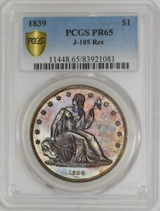 1839 GOBRECHT DOLLAR $ J 105 RES PR65 SECURE PLUS PCGS
