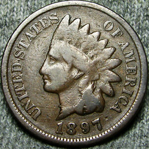 1897 1 IN NECK INDIAN CENT US PENNY SNOW 1 ERROR       MISPLACED DATE      E037