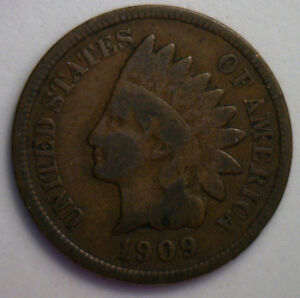 1909 INDIAN HEAD COPPER US CENT ONE CENT TYPE COIN PENNY INDIANHEAD LOT G12