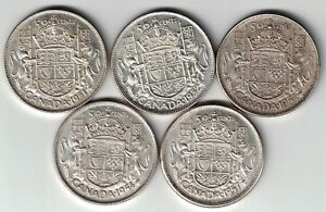 Click now to see the BUY IT NOW Price! 5 X CANADA FIFTY CENTS HALF DOLLAR GEORGE VI ELIZABETH SILVER COINS 1951 1957