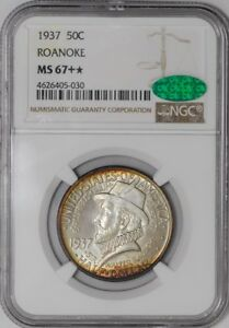Click now to see the BUY IT NOW Price! 1937 ROANOKE 50C 938572 22 MS67   NGC   CAC