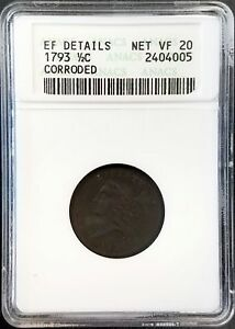 1793 LIBERTY CAP HALF CENT CERTIFIED NET VF 20 BY ANACS  1ST YEAR OF MINTING