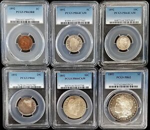 Click now to see the BUY IT NOW Price! 1892 PROOF COIN COLLECTION  ALL SIX COINS PCGS GRADED  INCLUDES PROOF MORGAN