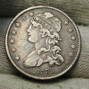 1835 CAPPED BUST QUARTER 25 CENTS   NICE COIN .  6129