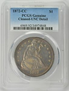 Click now to see the BUY IT NOW Price! 1872 CC $1 LIBERTY SEATED DOLLAR TYPE 4 WITH MOTTO CLEANED UNC PCGS GENUINE