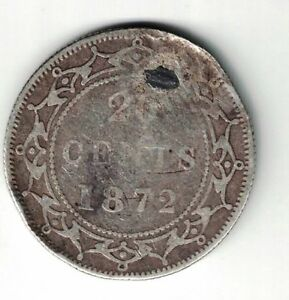 NEWFOUNDLAND 1872H 20 CENTS QUEEN VICTORIA CANADIAN STERLING SILVER COIN