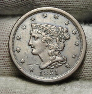 1851 BRAIDED HAIR HALF CENT    ONLY 147 672 MINTED . NICE COIN  7243