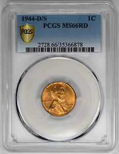 Click now to see the BUY IT NOW Price! 1944 D/S 1C RD LINCOLN WHEAT CENT   PCGS MS66RD