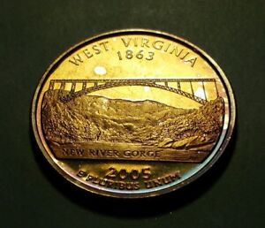 TONED 2005 S CLAD PROOF WEST VIRGINIA STATE QUARTER W26966