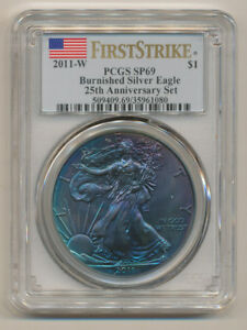 MONSTER COLOR    2011 W 25TH ANNIV SET PCGS SP69 FIRST STRIKE SILVER EAGLE FS