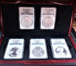 2011 AMER SILVER EAGLE 25TH ANNV 5 COIN SET NGC MS70/PF70 EARLY RELEASE OGP ZR33