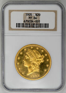 Click now to see the BUY IT NOW Price! 1905 $20 LIBERTY HEAD PROOF REEDED EDGE NGC PR64