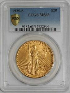 1925 S $20 SAINT GAUDENS 938968 9 MS63 SECURE PLUS PCGS