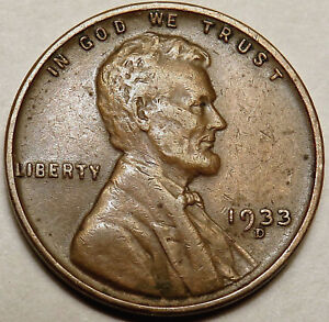 1933 D LINCOLN WHEAT CENT. EXTRA FINE XF. FULL WHEAT LINES. 153