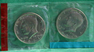 1971 P & D KENNEDY HALF DOLLAR COIN FROM US MINT SET 2 BU CELLOS CELLO COINS 50C