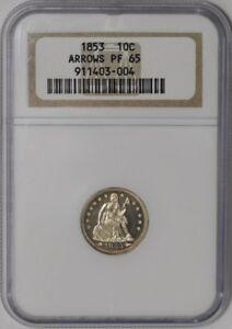 Click now to see the BUY IT NOW Price! 1853 SEATED LIBERTY DIME 10C ARROWS 939022 3 PF65 NGC