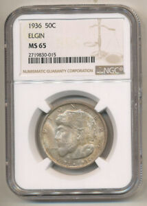 1936 ELGIN NGC MS65 SILVER COMMEMORATIVE HALF DOLLAR ORIGINALGEM BU UNCIRCULATED