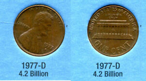 1977 D ABE LINCOLN MEMORIAL AMERICAN PENNY 1 CENT US U.S AMERICA ONE COIN B1