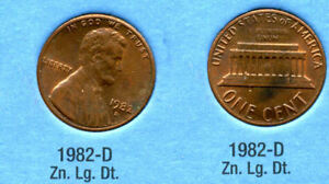 1982 D LINCOLN MEMORIAL LARGE DATE ZINC PENNY 1 CENT US AMERICA ONE COIN B1