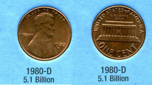1980 D ABE LINCOLN MEMORIAL AMERICAN PENNY 1 CENT US U.S AMERICA ONE COIN B1