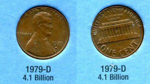 1979 D ABE LINCOLN MEMORIAL AMERICAN PENNY 1 CENT US U.S AMERICA ONE COIN B1