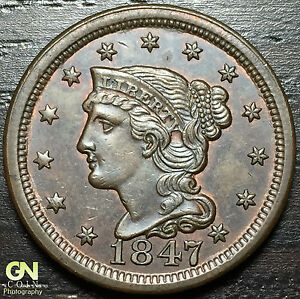 1847 BRAIDED HAIR LARGE CENT N6 R1     MAKE US AN OFFER   O2980